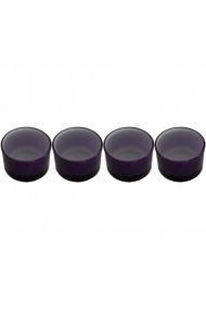 Set 4 suporturi de lumanari tip pastila Rasteli sticla Ø 5 cm h 3 cm mov art. 4263