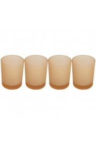 Set 4 suporturi de lumanari tip pastila Rasteli sticla Ø 5 cm h 6.5 cm crem mat art. 7106