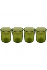 Set 4 suporturi de lumanari tip pastila Rasteli sticla Ø 5.5 cm h 6.5 cm verde transparent art. 5907