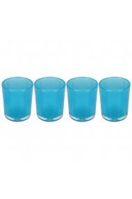 Set 4 suporturi de lumanari tip pastila Rasteli sticla Ø 5.5 cm h 6.5 cm bleu transparent art. 5903