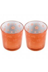Set 2 suporturi de lumanari tip pastila Rasteli sticla Ø 7 cm h 7.5 cm model flori portocaliu metalizat art. 7745