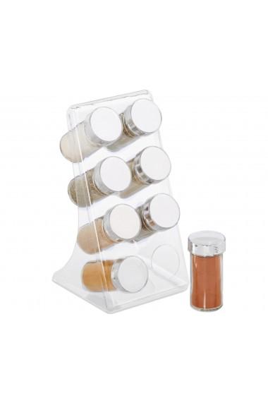 Suport 8 dozatoare condimente 8 x recipient sticla 100 ml cu capac h 10 cm d 5 cm suport acril Relaxdays transparent