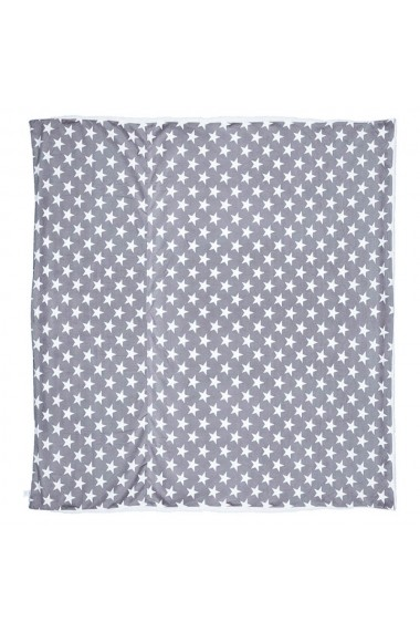 Patura groasa cu 2 fete Relaxdays flece si blana artificiala pled captusit 220 x 240 cm model stelute alb-gri