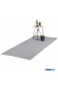 Covor bumbac Relaxdays lucrat manual strat anti-alunecare grosime 1 cm alb-negru 70 x 140 cm model geometric