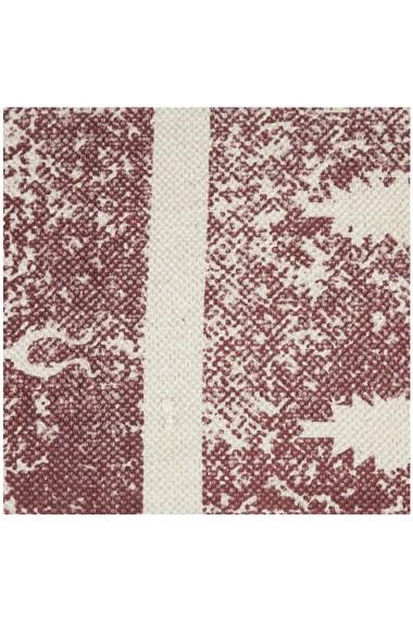 Covor bumbac Relaxdays lucrat manual strat anti-alunecare cu franjuri stil etno grosime 0.5 cm crem-visiniu 70 x 140 cm