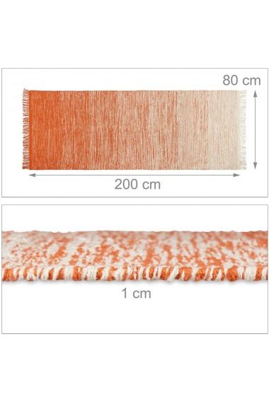 Covor bumbac Relaxdays lucrat manual strat anti-alunecare cu franjuri grosime 1 cm crem-portocaliu inchis 80 x 200 cm