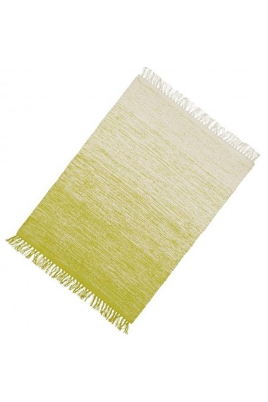 Covor bumbac Relaxdays cu franjuri lucrat manual grosime 1 cm crem-verde deschis 60 x 90 cm