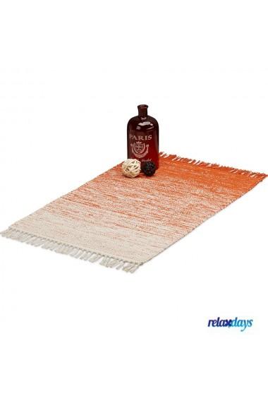 Covor bumbac Relaxdays cu franjuri lucrat manual grosime 1 cm crem-portocaliu inchis 60 x 90 cm