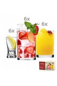 Set 18 pahare apa/vin/suc/vodca sticla Krosno 250 ml 150 ml 25 ml