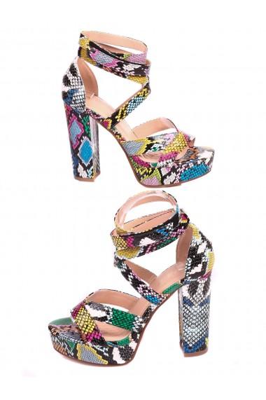 Sandale cu platforma si toc patrat piele ecologica multicolora Paolo Botticelli 4M-21038