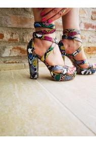 Sandale cu toc PAOLO BOTTICELLI din piele ecologica, Multicolore