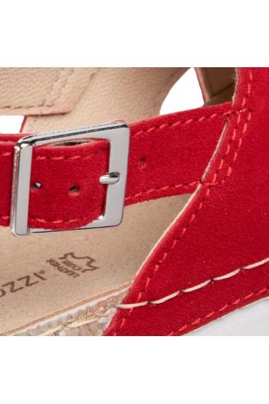 Sandale casual dama din piele naturala rosie Marco Tozzi 28521