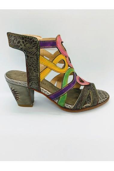 Sandale elegante dama din piele naturala Laura Vita a HUCTO07Gris