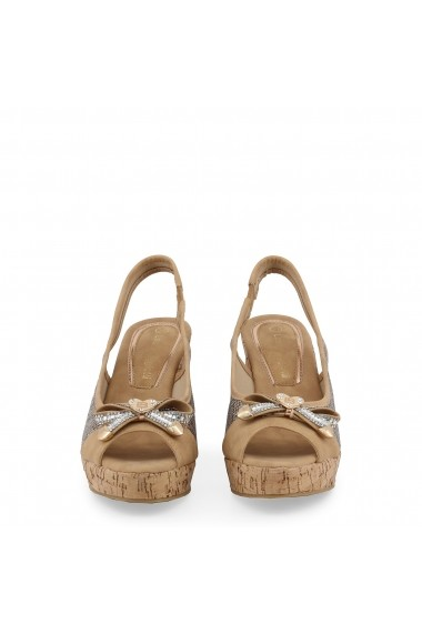 Sandale cu platforma Laura Biagiotti 5605 NABUK SAND Maro