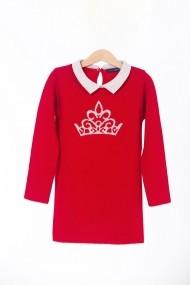 Rochie rosie, tricotata, cu guler Be You