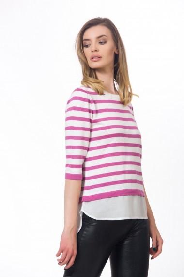 Bluza alba cu dungi roz in stil camasa Be You