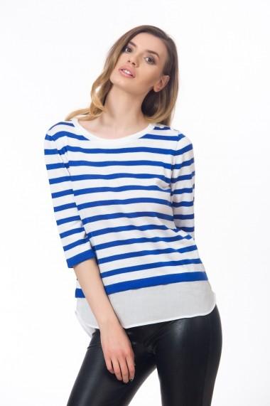 Bluza alba cu dungi albastre in stil camasa Be You