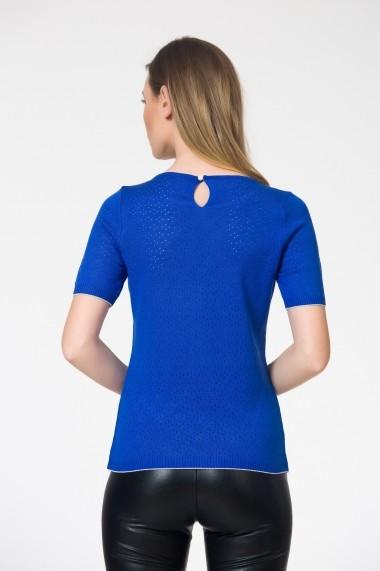 Bluza albastra tricotata cu guler rotund Be You