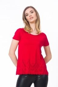 Bluza rosie tricotata cu maneci scurte Be You