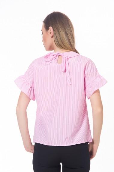 Bluza roz cu maneci scurte, cu volane Be You
