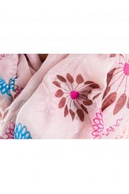 Esarfa TinaR cu flori mari Roz light