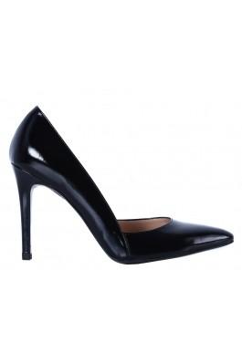 Pantofi cu toc CONDUR by alexandru stiletto, din lac negru