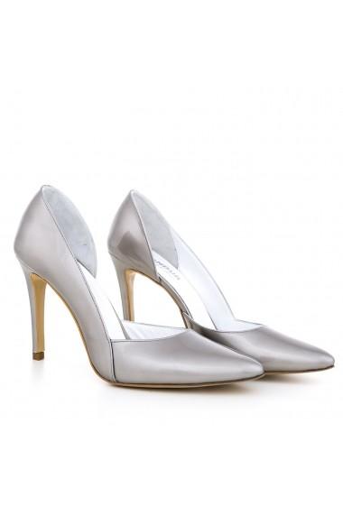 Pantofi cu toc CONDUR by alexandru gri din piele lacuita