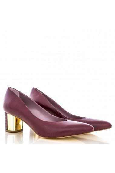 Pantofi cu toc CONDUR by alexandru cu imprimeu grena si toc gros