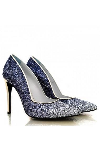 Pantofi cu toc CONDUR by alexandru din glitter argintiu