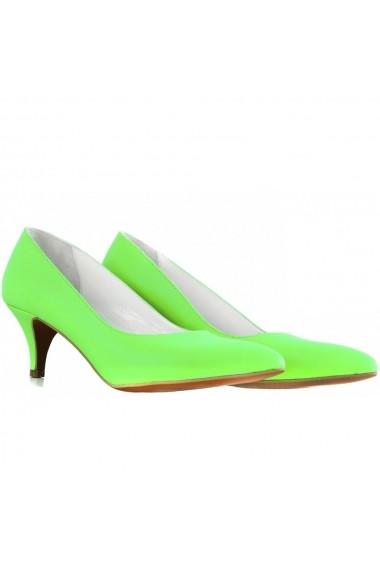 Pantofi cu toc CONDUR by alexandru verde neon din piele