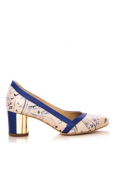 Pantofi cu toc CONDUR by alexandru laser bej cu albastru