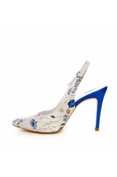 Pantofi cu toc CONDUR by alexandru 1404 albastru flori