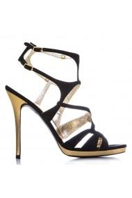 Sandale cu toe CONDUR by alexandru negru cu auriu, din piele naturala