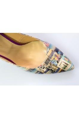 Pantofi cu toc Thea Visconti cu print New York
