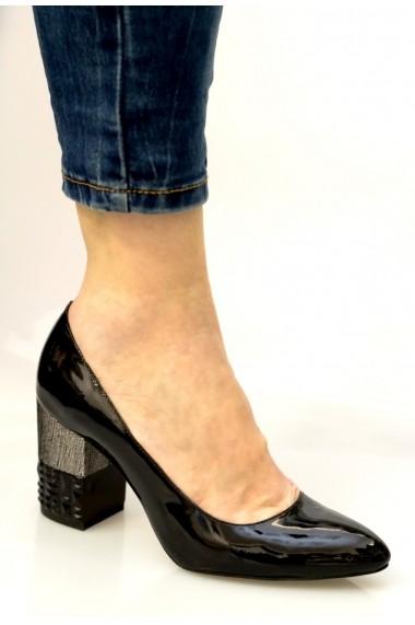 Pantofi cu toc Thea Visconti cu toc negru-argintiu inchis