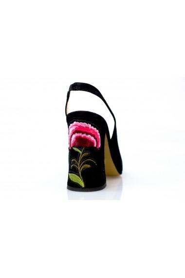 sandale Thea Visconti 988 negru-velur cu toc cu garofita