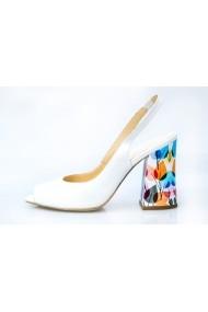 Sandale Thea Visconti 988 albe cu toc cu print frunze colorate