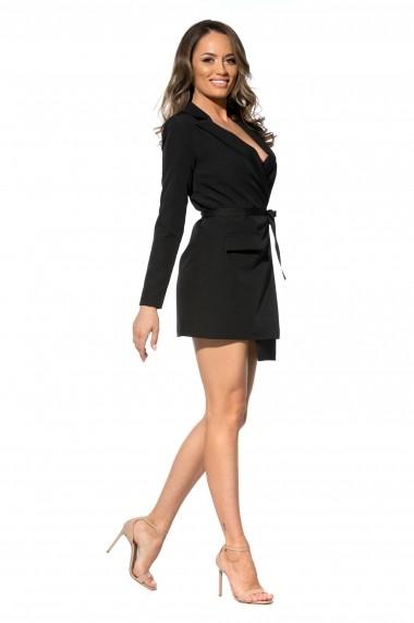 Rochie neagra Roserry stil sacou din stofa cu cordon