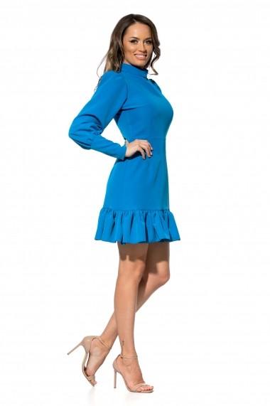 Rochie albastru deschis Roserry scurta cu volan si maneci bufante