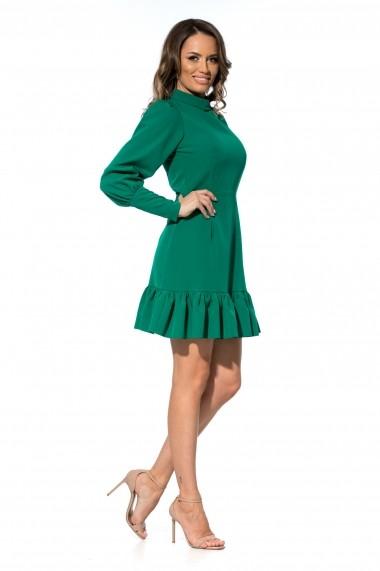 Rochie verde Roserry scurta cu volan si maneci bufante