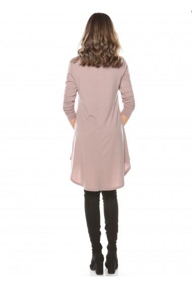Rochie de zi roz Roserry din jerseu cu guler