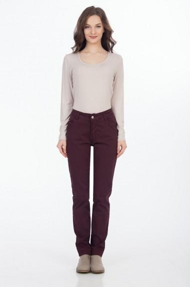 Pantaloni drepti Sense Jessy bordo