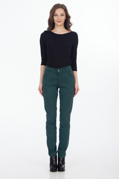 Pantaloni drepti Sense Jessy verde