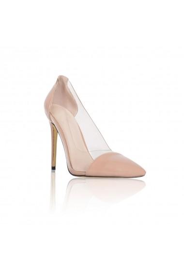 Pantofi cu toc NISSA stiletto cu transparente Nude