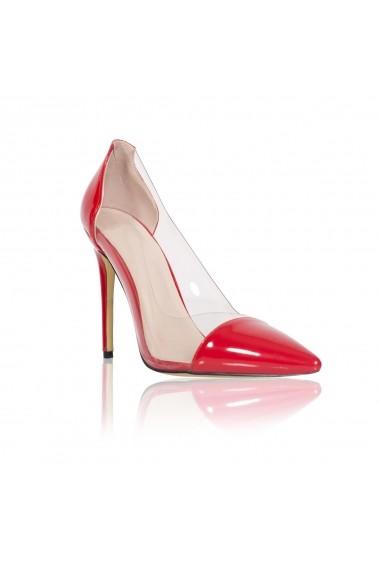 Pantofi cu toc NISSA stiletto cu transparente Rosu