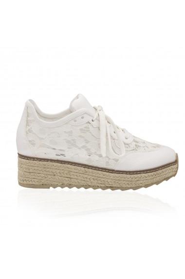 Pantofi NISSA casual din dantela Alb