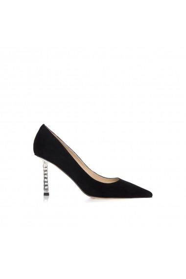 Pantofi NISSA din piele naturala cu toc transparent Negru
