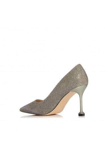 Pantofi NISSA stiletto cu finisaj stralucitor in ton argintiu Argintiu