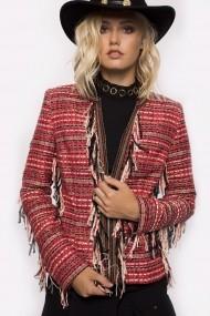 Jacheta NISSA cu detaliu din franjuri si insertii multicolore Multicolor
