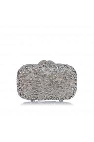 Clutch NISSA cu aplicatie de pietre de sticla Argintiu